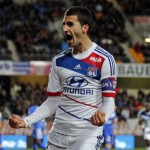 Olympique Lyon's Gonalons celebrates after scoring a goal against Troyes during their French Ligue 1 soccer match in Troyes