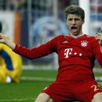 Mueller of Bayern Munich celebrates a goal against FC Basel during their Champions League round-of-16 second leg match in Munich